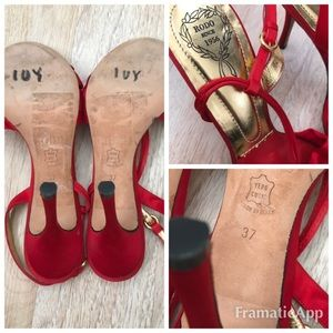 Rodo Shoes - Rodo Red Satin Jeweled Shoes Size 37 $495